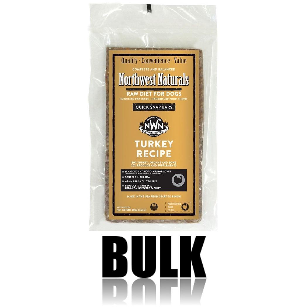 Northwest Naturals Raw Diet Grain-Free Turkey Dinner Bar Raw Frozen Dog Food - BULK 25lbs