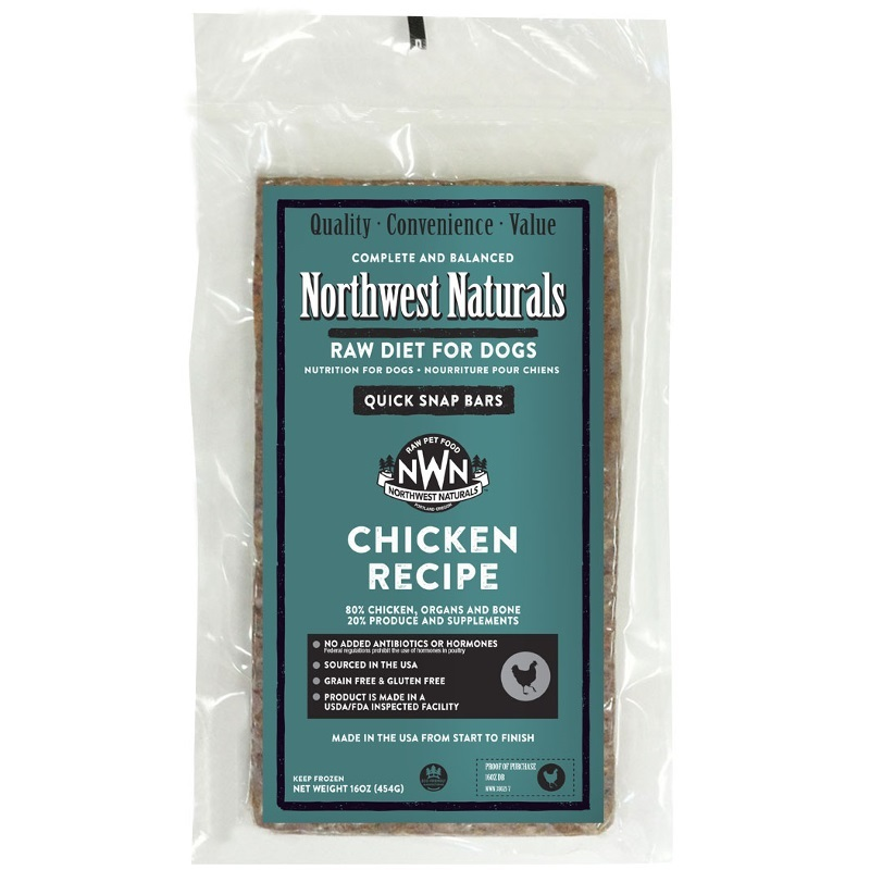 Northwest Naturals Raw Diet Grain-Free Chicken Dinner Bar Raw Frozen Dog Food - Individually Wrapped 1lbs