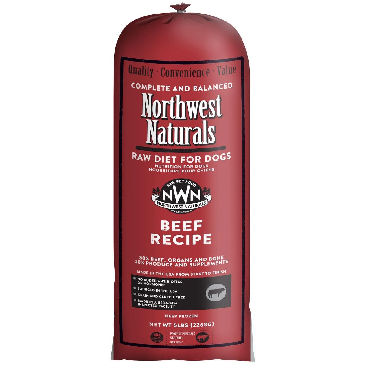 Northwest Naturals Raw Diet Grain-Free Beef Chub Roll Raw Frozen Dog Food 5lbs