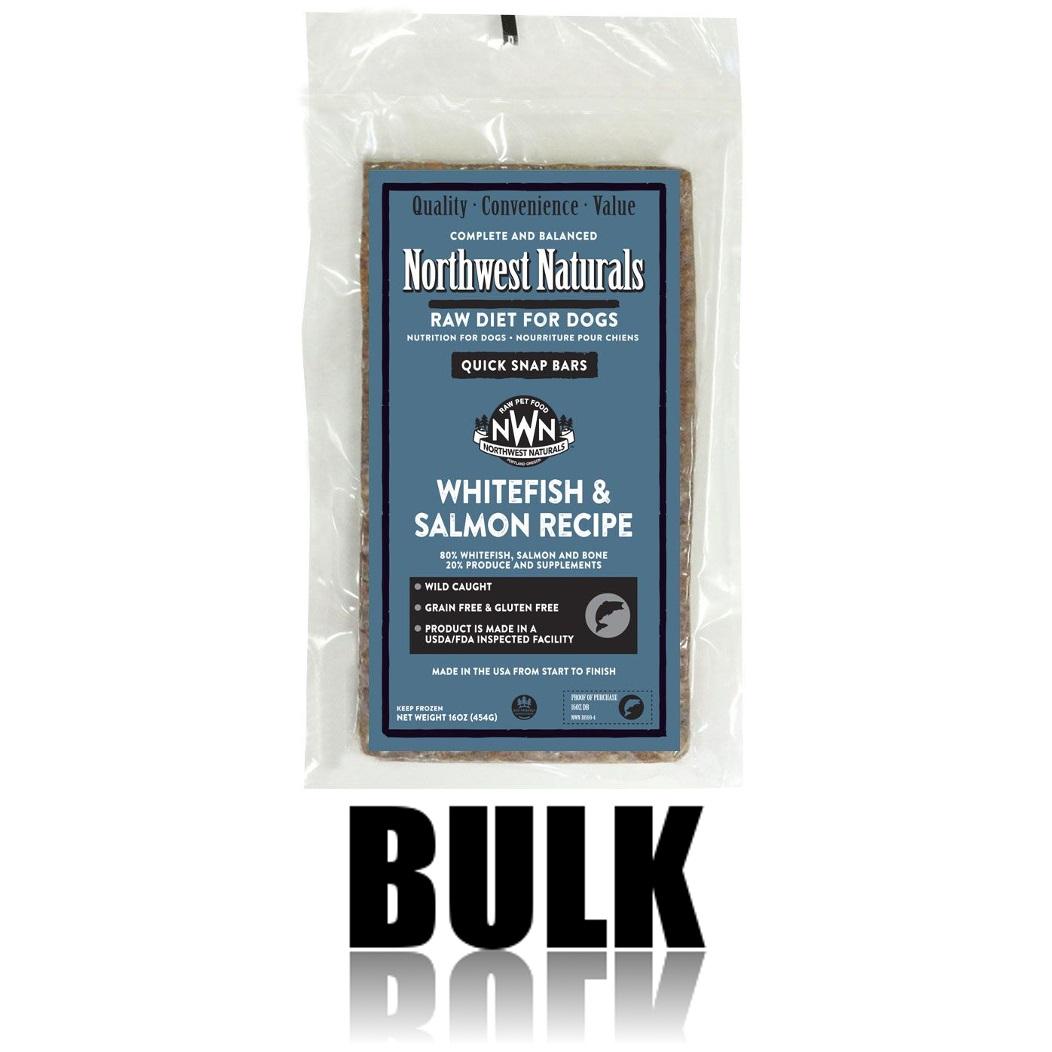 Northwest Naturals Raw Diet Grain-Free Whitefish & Salmon Dinner Bar Raw Frozen Dog Food - BULK 25lbs