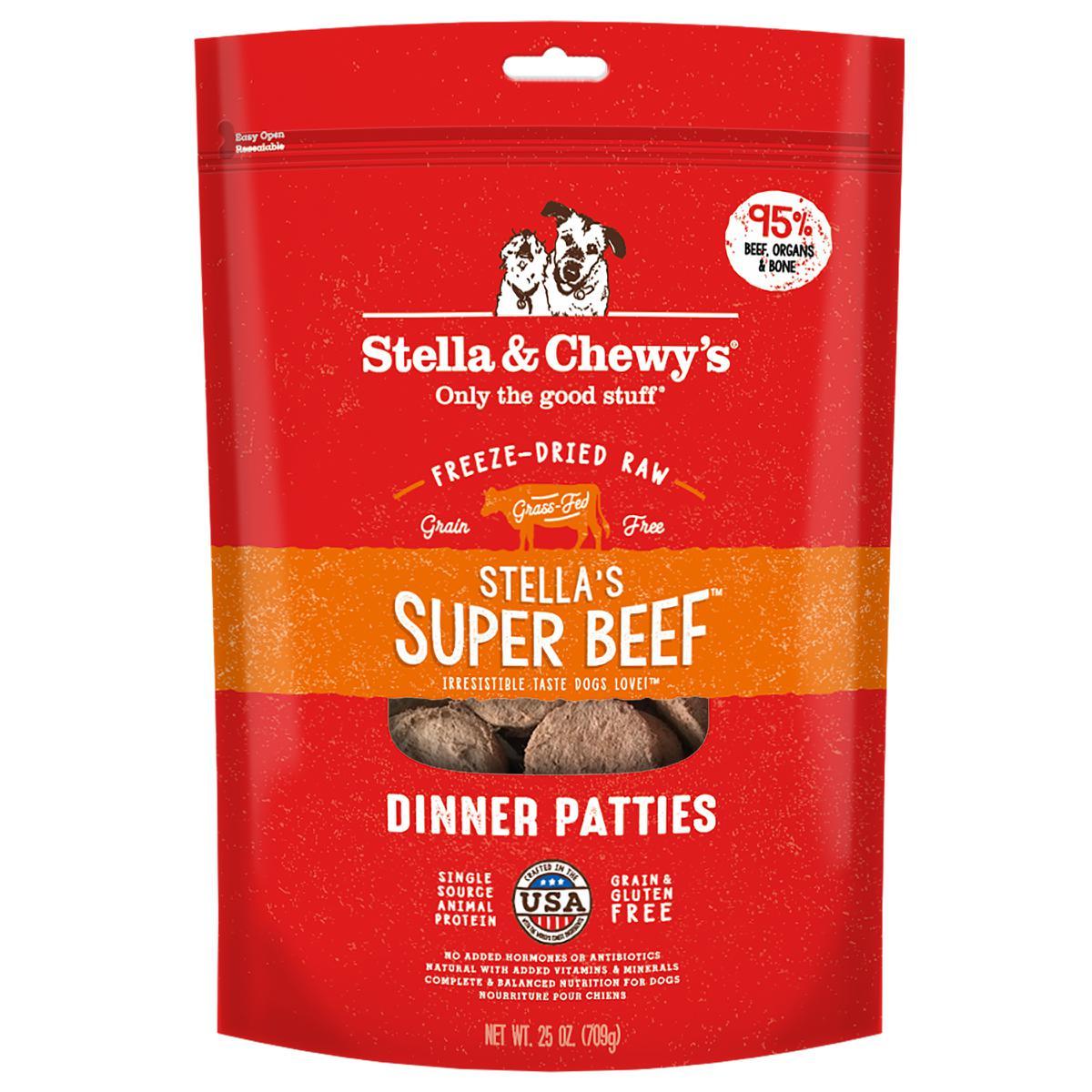 Stella & Chewy's Super Beef Dinner Patties Raw Freeze Dried Dog Food 25z