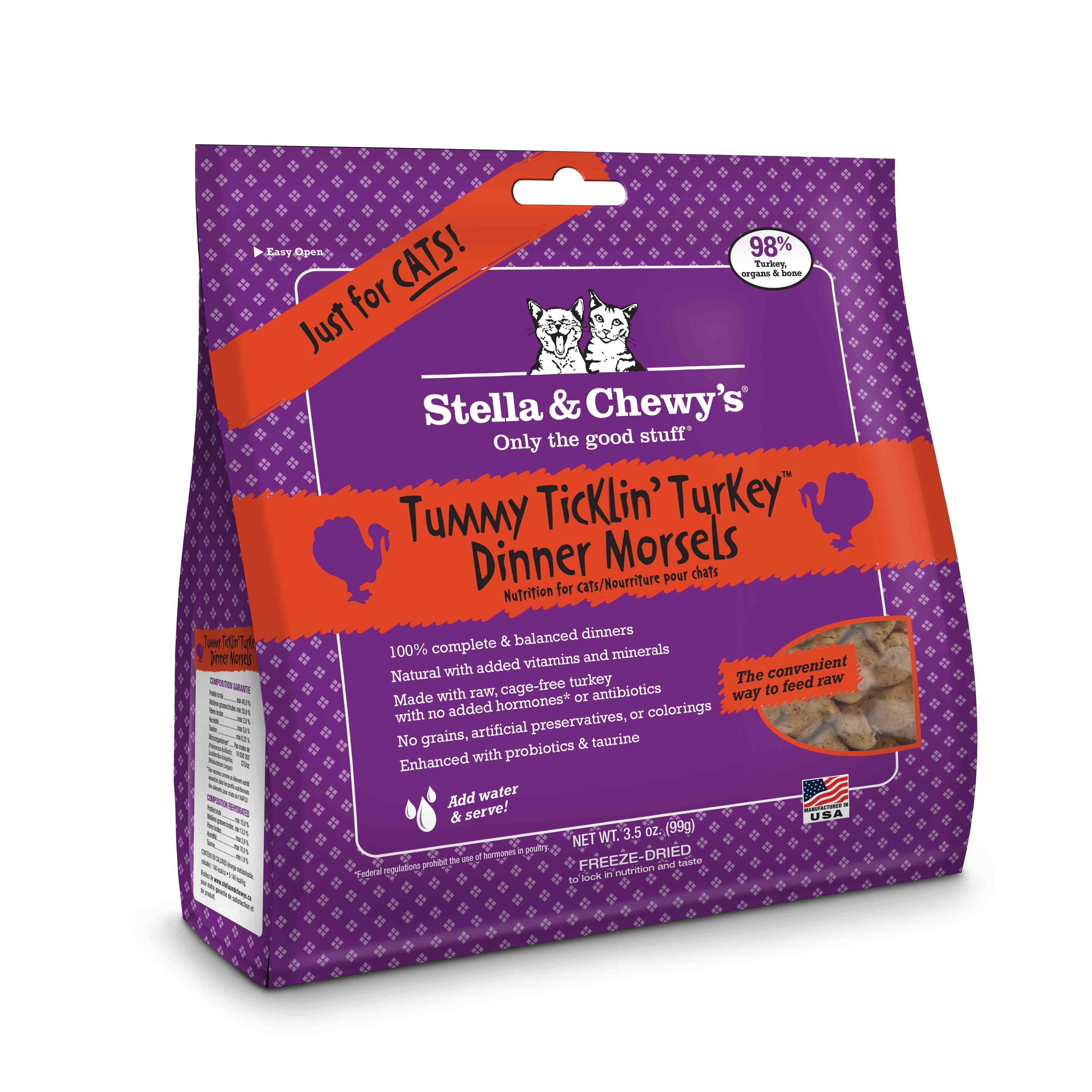 Stella & Chewy's Tummy Ticklin' Turkey Dinner Raw Freeze Dried Cat Food 3.5z