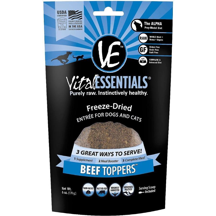 Vital Essentials FREEZE DRIED RAW Beef Topper Dog & Cat Food Topper 6oz