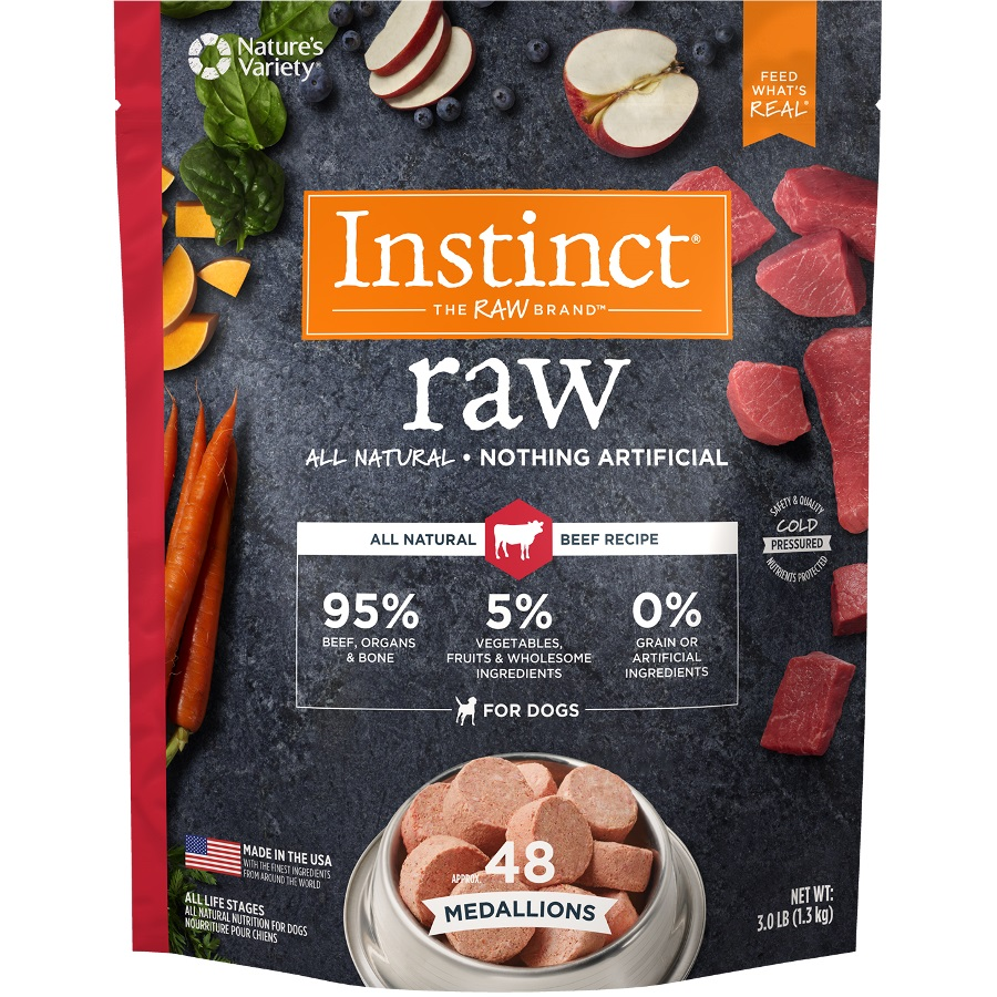 Nature's Variety Instinct Raw Grain-Free Beef 1z Medallions Raw Frozen Dog Food 3lbs