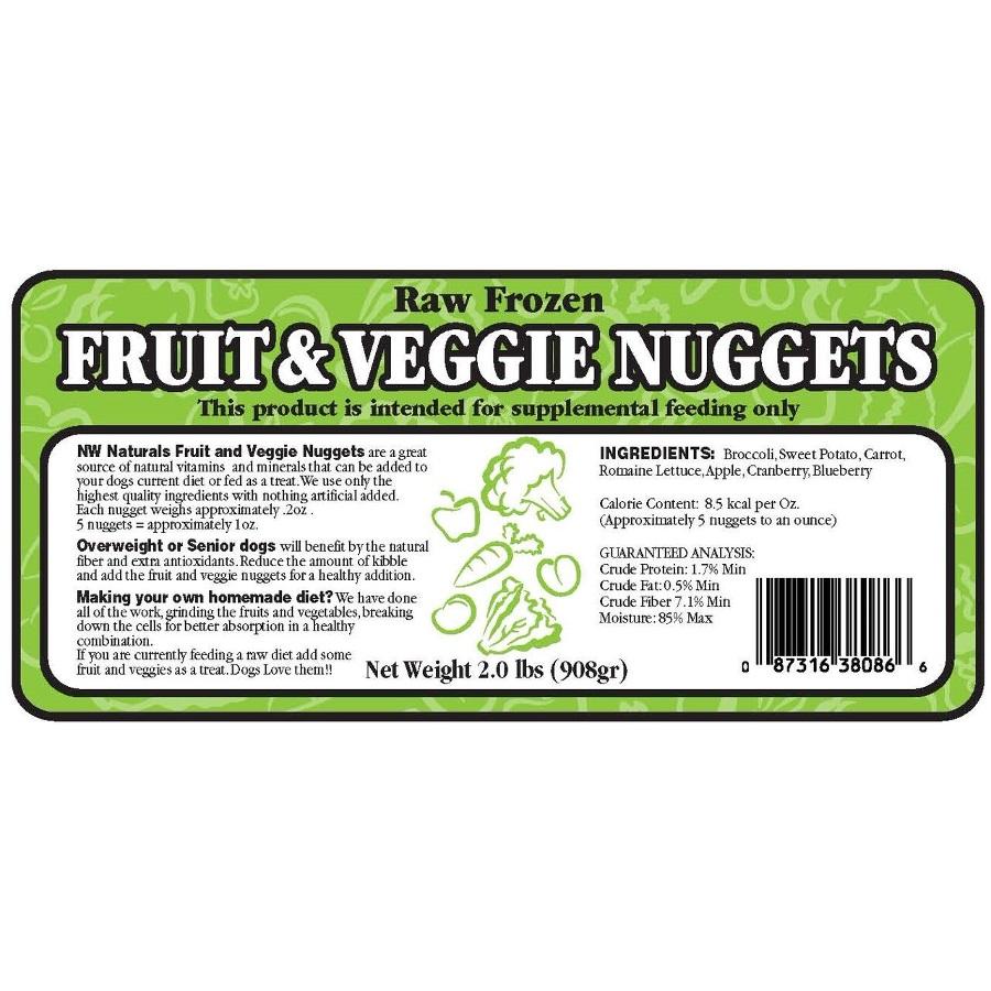 Northwest Naturals Raw Diet Grain-Free Fruit & Veggie Nuggets Raw Frozen Dog Food 2lbs