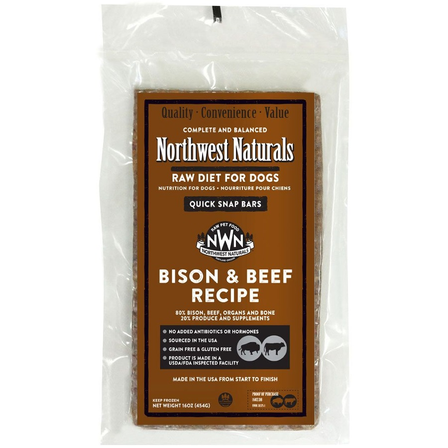 Northwest Naturals Raw Diet Grain-Free Bison & Beef Dinner Bar Raw Frozen Dog Food - Individually Wrapped 1lbs
