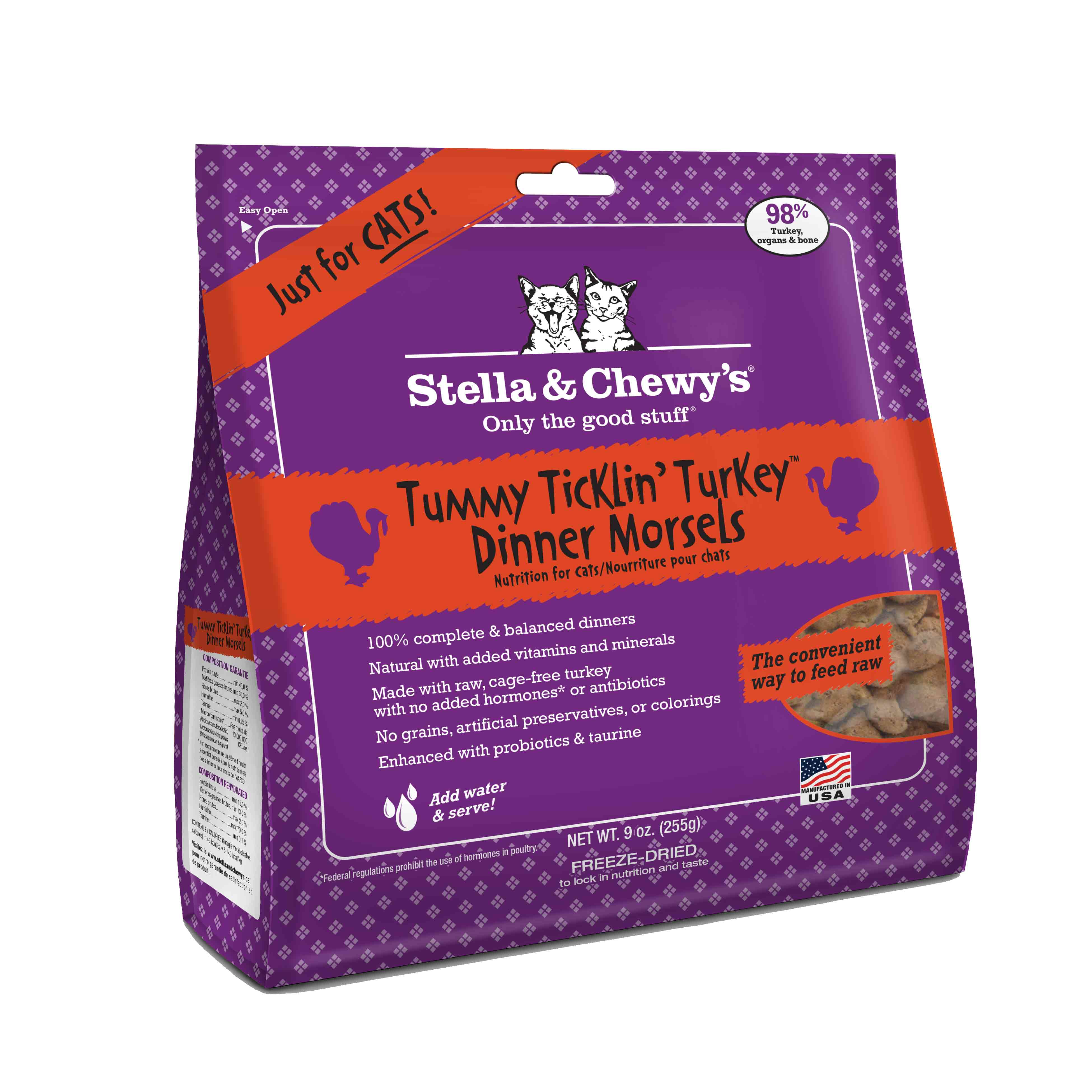 Stella & Chewy's Tummy Ticklin' Turkey Dinner Raw Freeze Dried Cat Food 9z
