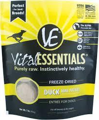 Vital Essentials FREEZE DRIED RAW Duck Mini Patties Dog Food 1lbs