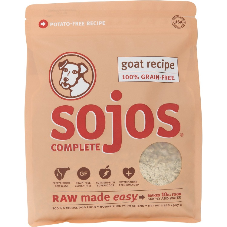 Sojos Complete Goat FREEZE DRIED Raw Grain Free Adult Dog Food 2lbs