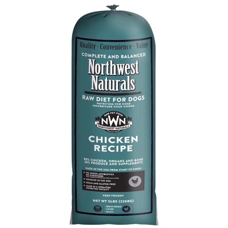 Northwest Naturals Raw Diet Grain-Free Chicken Chub Roll Raw Frozen Dog Food 5lbs