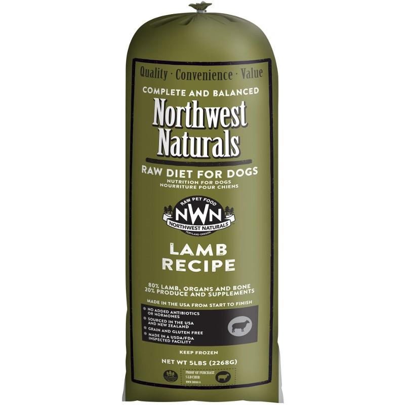 Northwest Naturals Raw Diet Grain-Free Lamb Chub Roll Raw Frozen Dog Food 5lbs