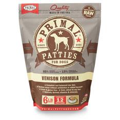 Primal RAW Frozen 8oz Patties Vension Formula Dog Food 6lbs