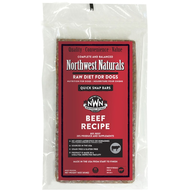 Northwest Naturals Raw Diet Grain-Free Beef Dinner Bar Raw Frozen Dog Food - Individually Wrapped 1lbs