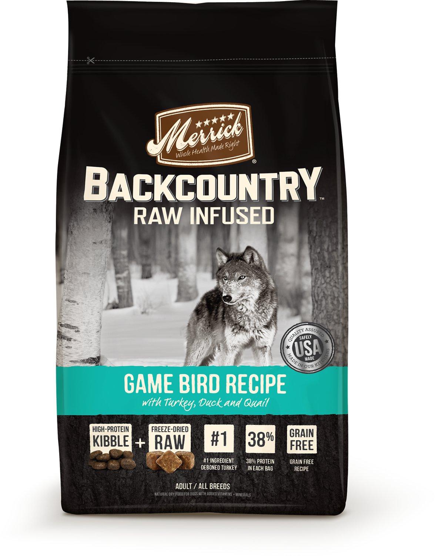 Merrick Backcountry Game Bird Raw Infused Adult Grain Free Dry Dog Food 22lbs