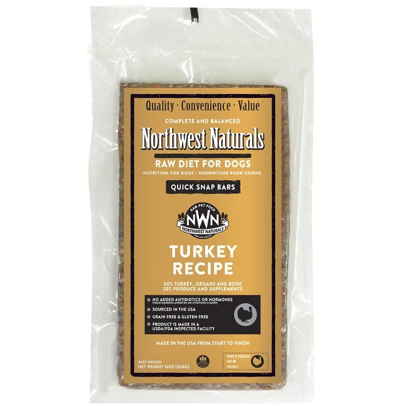 Northwest Naturals Raw Diet Grain-Free Turkey Dinner Bar Raw Frozen Dog Food - Individually Wrapped 1lbs