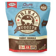 Primal RAW Frozen 1oz Nuggets Rabbit Formula Cat Food 3lbs