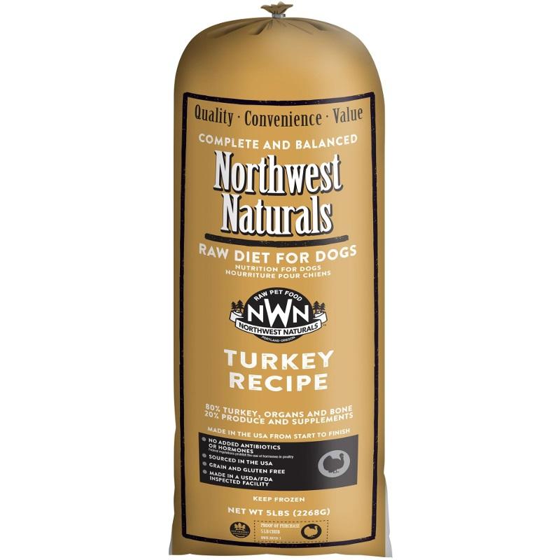 Northwest Naturals Raw Diet Grain-Free Turkey Chub Roll Raw Frozen Dog Food 5lbs