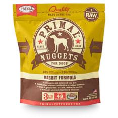 Primal RAW Frozen 1oz Nuggets Rabbit Formula Dog Food 3lbs
