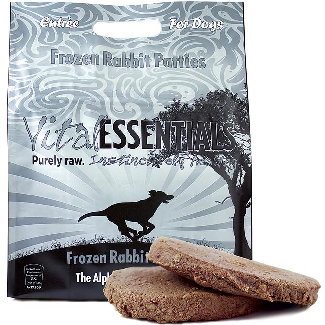 Vital Essentials FROZEN RAW Grain Free Rabbit 8oz Patties Dog Food 6lbs