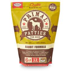 Primal RAW Frozen 8oz Patties Rabbit Formula Dog Food 6lbs
