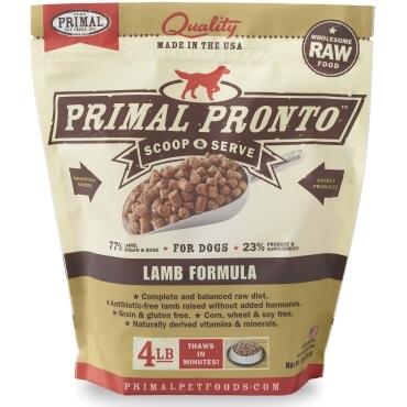 Primal Pronto RAW Frozen Lamb Formula Dog Food 4lbs